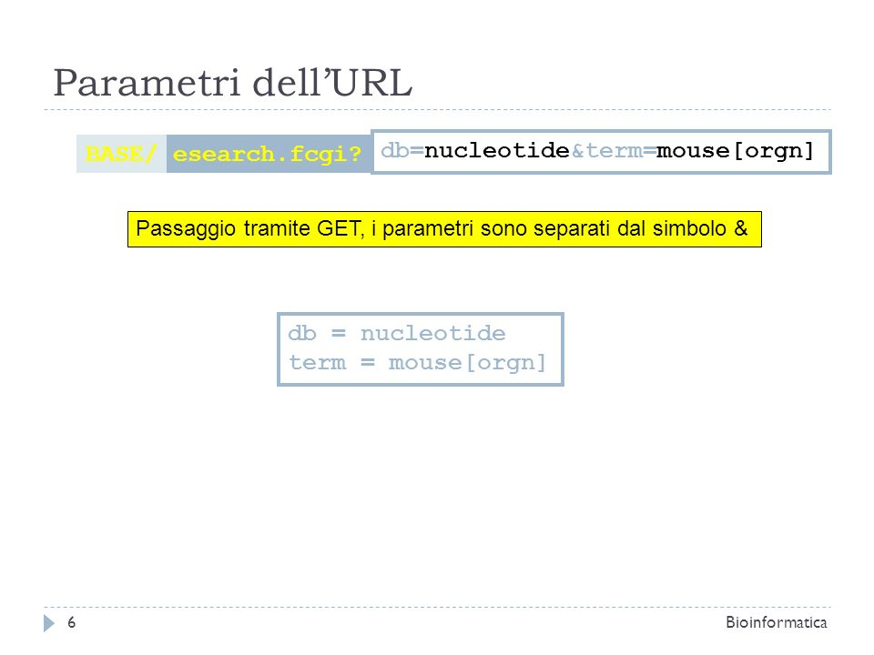 Parametri dell'URL BASE/ esearch.fcgi db=nucleotide&term=mouse[orgn]